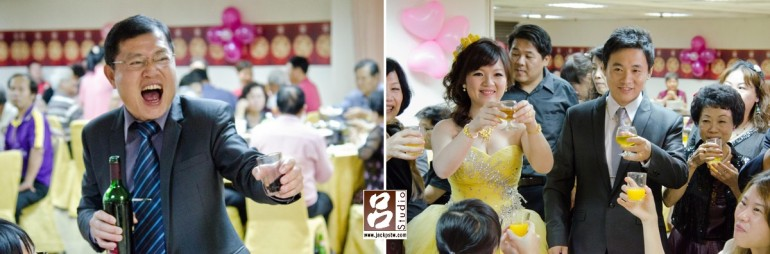 敬酒時,新娘父親好開心,又看到很多親友前來參加