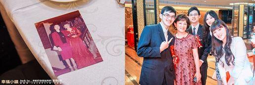 左邊這張泛黃照片是婚宴的賓客帶來的, 照片中的穿的禮服的小姐,就是現在右邊新人媽媽