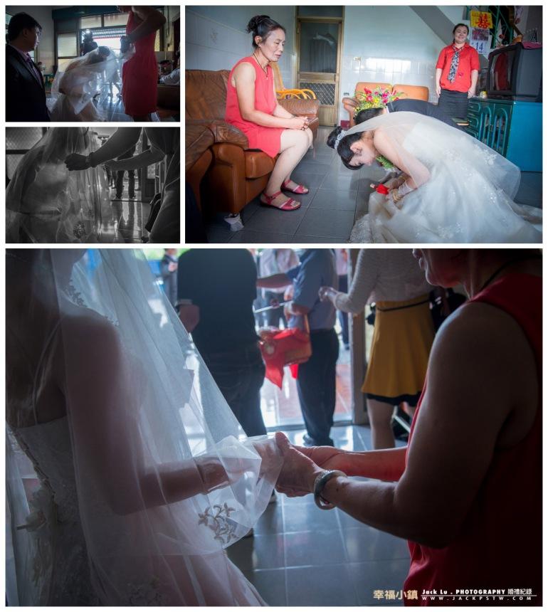 新娘的母親幫新娘蓋完頭紗,緊緊的牽的新娘的手