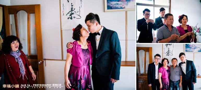 新郎官與家人互動也活潑,媽媽跟兒子一起做出kiss的動作,旁邊的姑姑看到