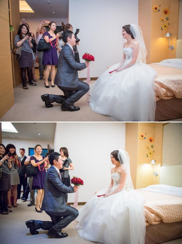 新郎向新娘求婚, 滿喜歡新娘的表情,我猜新娘在想會不會求婚阿