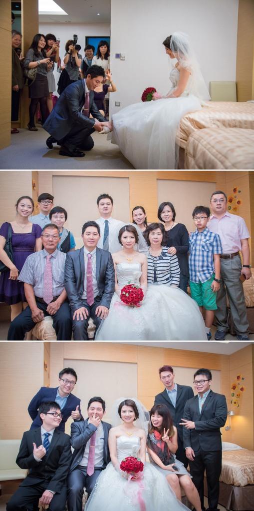 幫新娘穿鞋, 與家人拍合照