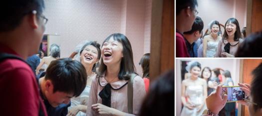 新娘與賓客的笑容,如果當時心理想只要拍一張好畫就收手的話離開的話,就不會有接下那幾個畫面,  最後一張賓客揮手叫她的男友到旁邊給專業攝影師拍