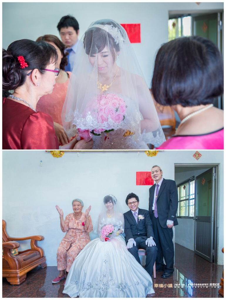 長輩告訴新娘過去要乖一點好好過之類的話,拍張合照奶奶超開心的