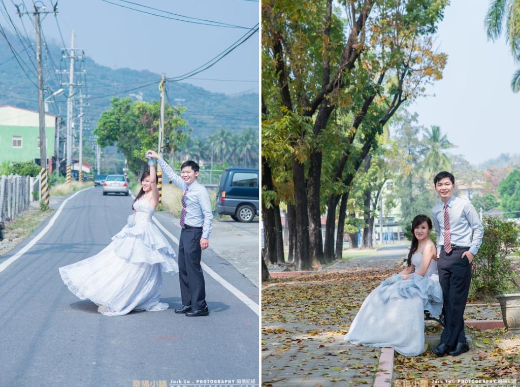 在新娘家門前拍照,新娘的大哥還有點擔心車子會不會太多