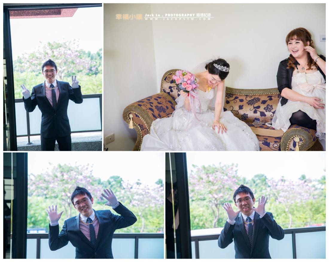 新郎官超搞笑的,看到小呂在拍他就開始擺pose,逗的新娘笑不停