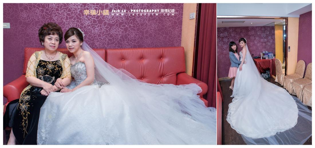 新娘化妝室:新娘白紗攤開