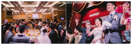 高雄-婚禮紀錄攝影師-婚宴喜宴-大八飯店-張簡婷婷-新人在大八飯店舞台上敬酒