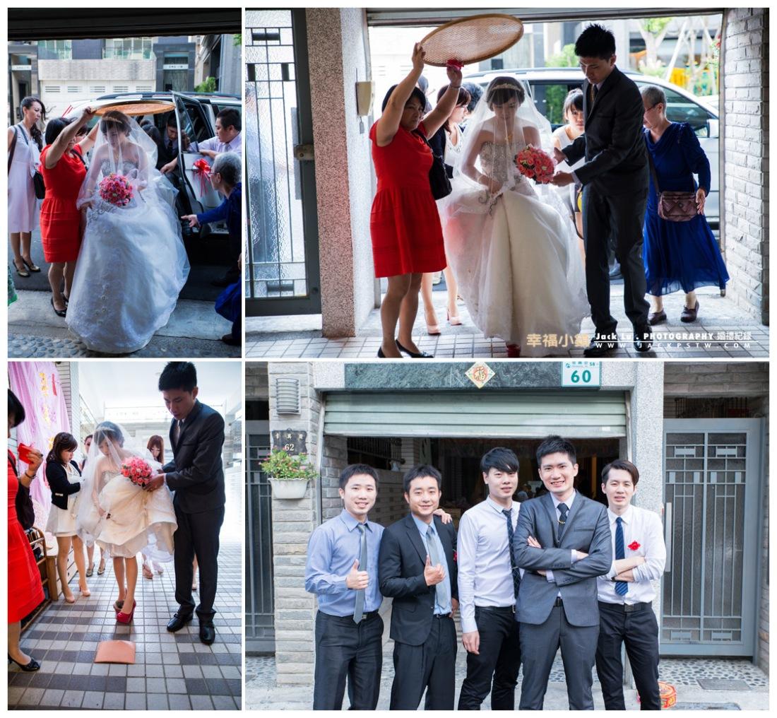 新人準備進家門,新娘過門前要先跨火爐和踩瓦片