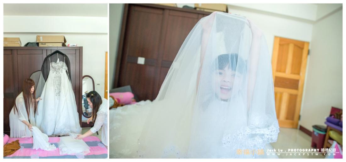 伴娘在幫忙整理新娘今天要穿的白紗,小花童玩頭紗