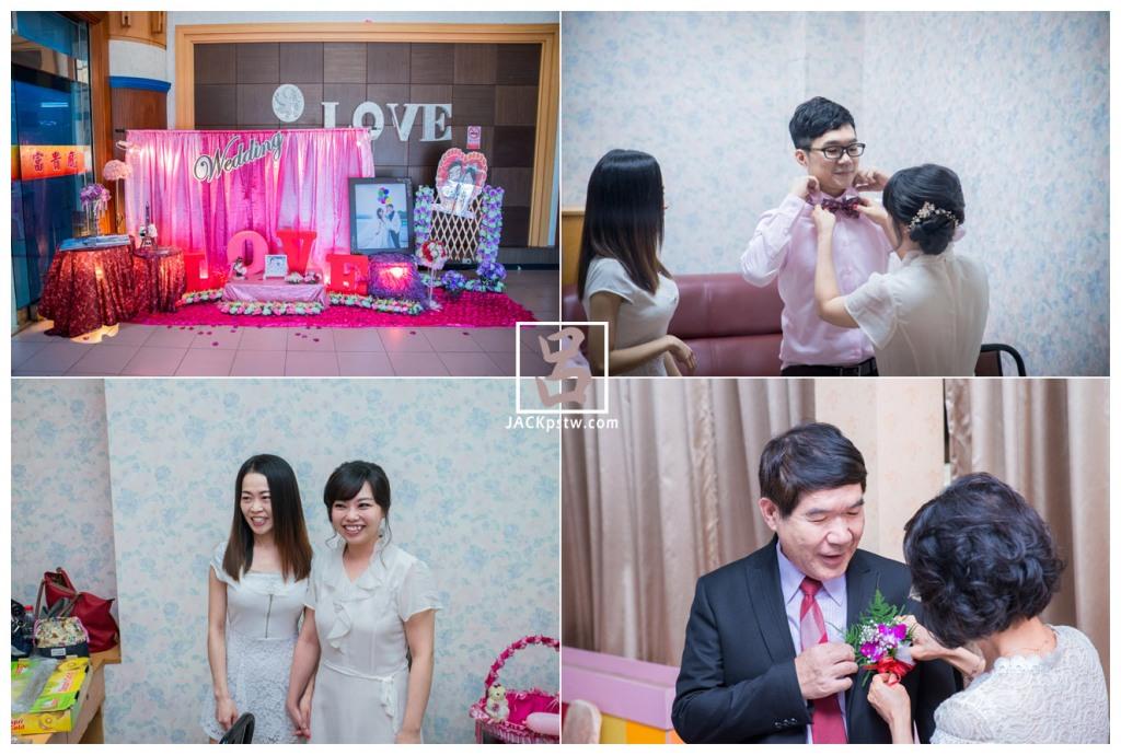 新娘在幫新郎整理衣物準備等下進場,新娘與她的姐姐