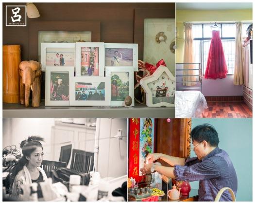 新娘與家人的合照,新娘房間掛的等下要穿文定的晚禮服 新娘在老家做造型,父親在準備等下要祭祖的東西,