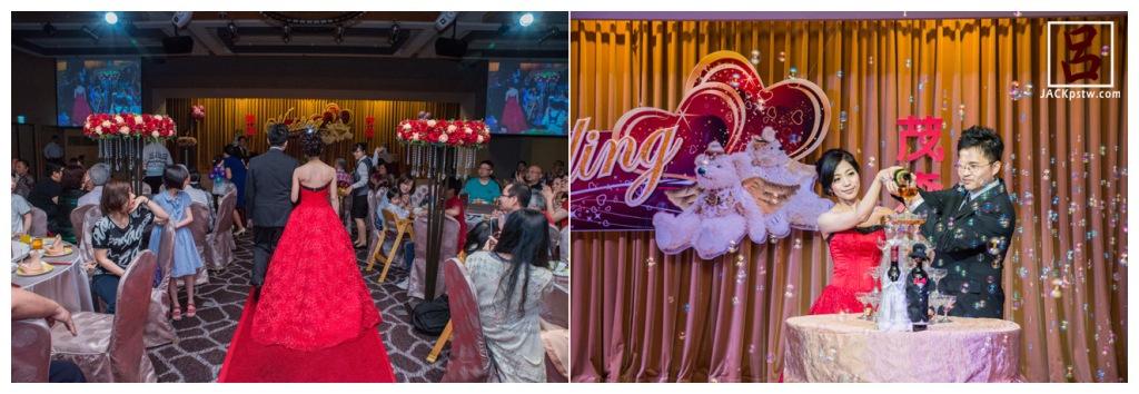 這次新娘穿的典雅紅的晚禮,倒香檳儀器,話說泡泡有加分