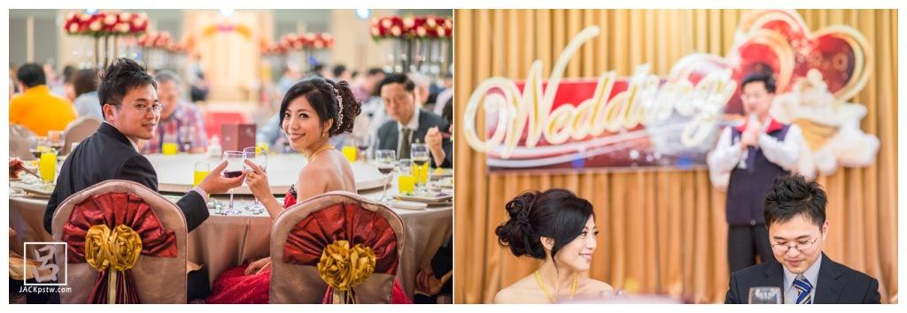 帥氣的新郎與美麗大方的新娘敬酒的畫面