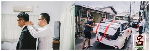 婚禮紀錄-迎娶喜宴-高雄圓山-新郎的親友在替禮車繫上彩帶