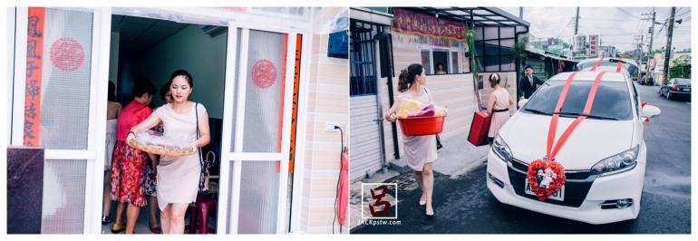 婚禮紀錄-迎娶喜宴-高雄圓山-親友幫忙把嫁妝抬上車