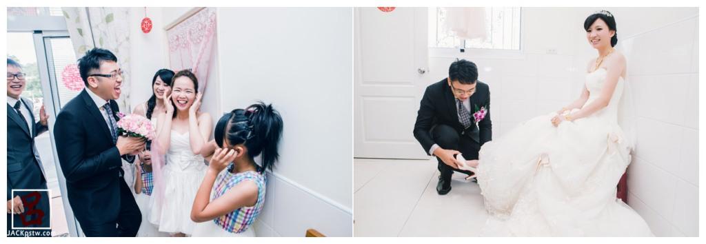 婚禮紀錄-迎娶喜宴-高雄圓山-新郎進行闖關遊戲和幫新娘穿鞋
