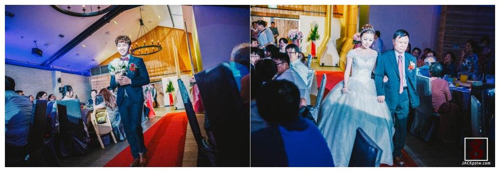 新郎進場,新娘與父親走紅地毯