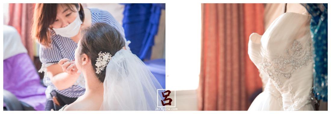 新秘在幫新娘化妝,白紗禮服