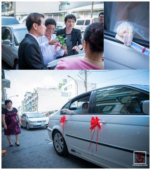 新娘父親在幫忙綁豬肉掛在竹子上,新娘丟扇子