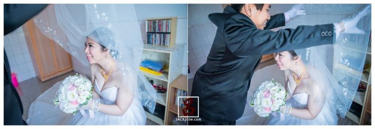 新郎掀開新娘頭紗