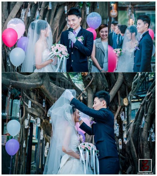 賓客陸續就座,今天新人也接的移駕到十鼓大榕樹下,開始戶外證婚儀式