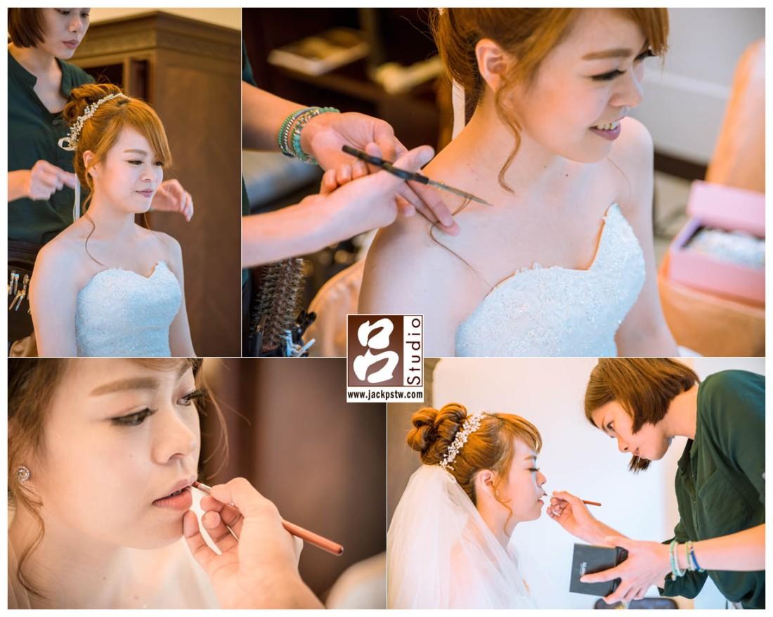 新秘Nina Lin 在幫新娘準備造型, 新秘眼神好專注