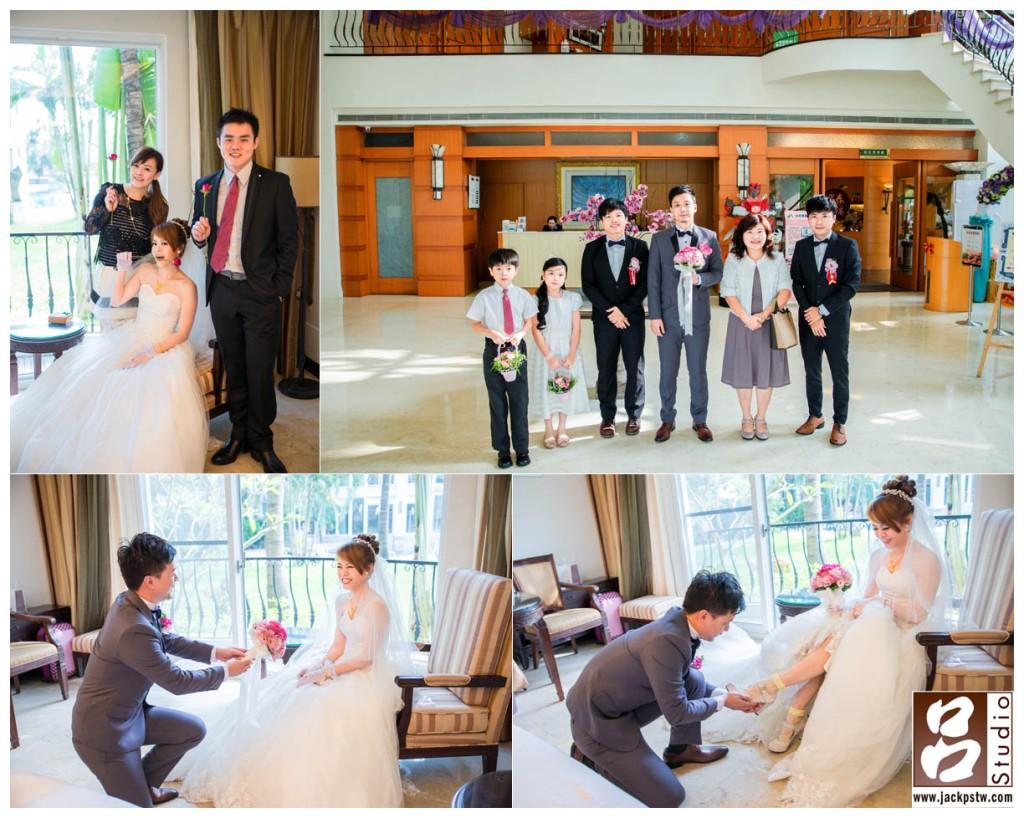 新娘與姐弟拍合照, 新郎與伴郎已經到達 新郎對新娘獻上捧花笑的超開心, 新娘穿鞋