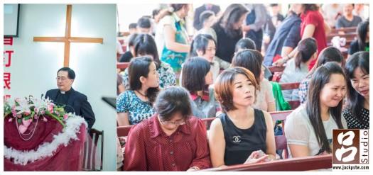 教會結婚儀式準備開始,觀禮來賓入座