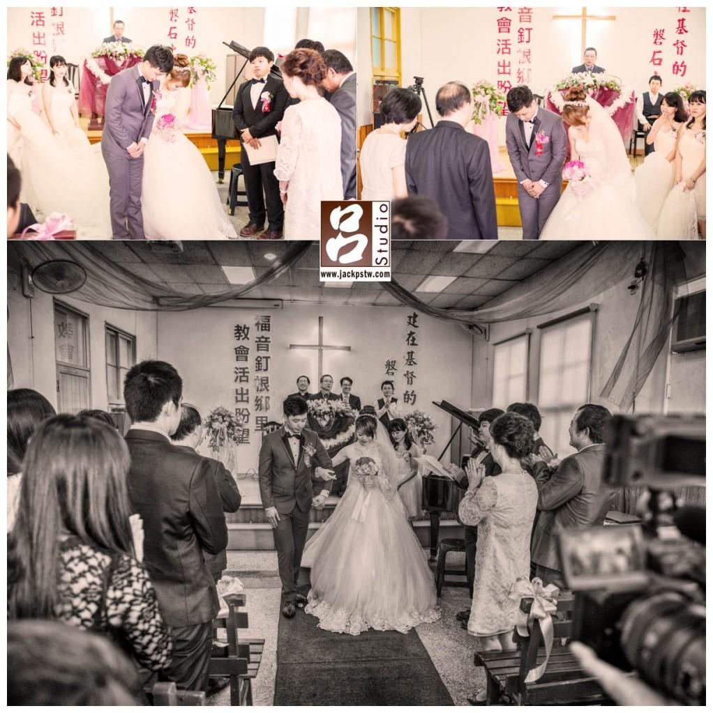 達謝父母,新人向雙方家長鞠躬,再向來賓致謝,婚禮退場