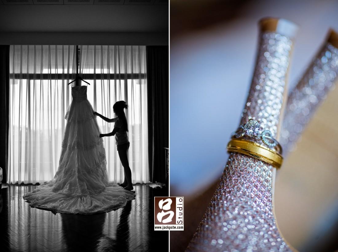 新娘子的白紗+婚鞋搭配戒指