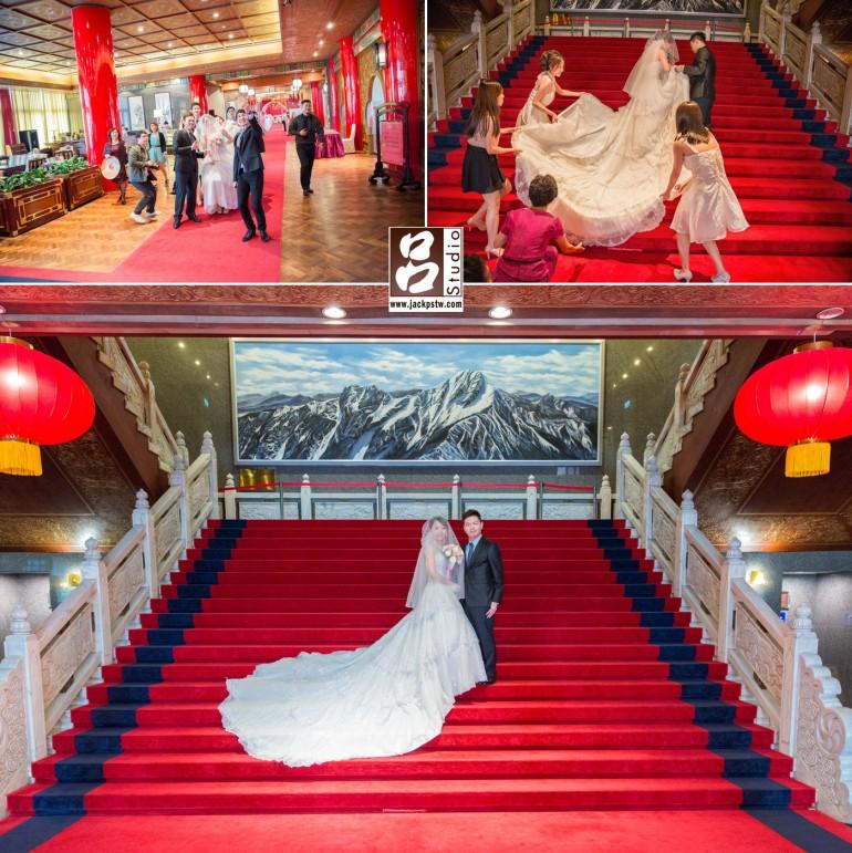 在高雄圓山的大廳拍攝,其實小呂很喜歡當天前來幫忙的伴娘和朋友一起協助新娘子的畫面,雖然從照片看不到正面,但對新人他們是張有意義的照片,攝他們大廳的紅地毯一定要拍一張給他們,雖然可能在其他婚攝常看到類似,但是對新人他們只有一次.