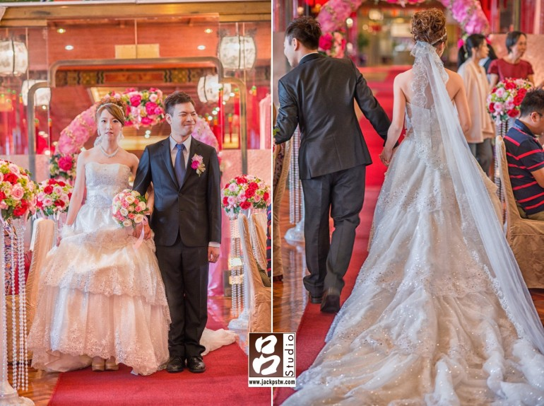 新娘子白紗正面和背面裙擺