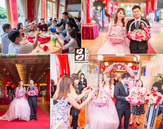 新娘換上紛色晚禮服二次進場,發小禮物