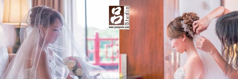新娘在新秘吳采靜巧手下快要完成造型了