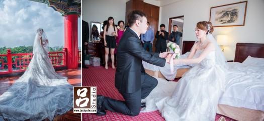 新郎高跪姿把捧花獻給新娘,難的在圓山在拍幾張新娘美美獨照