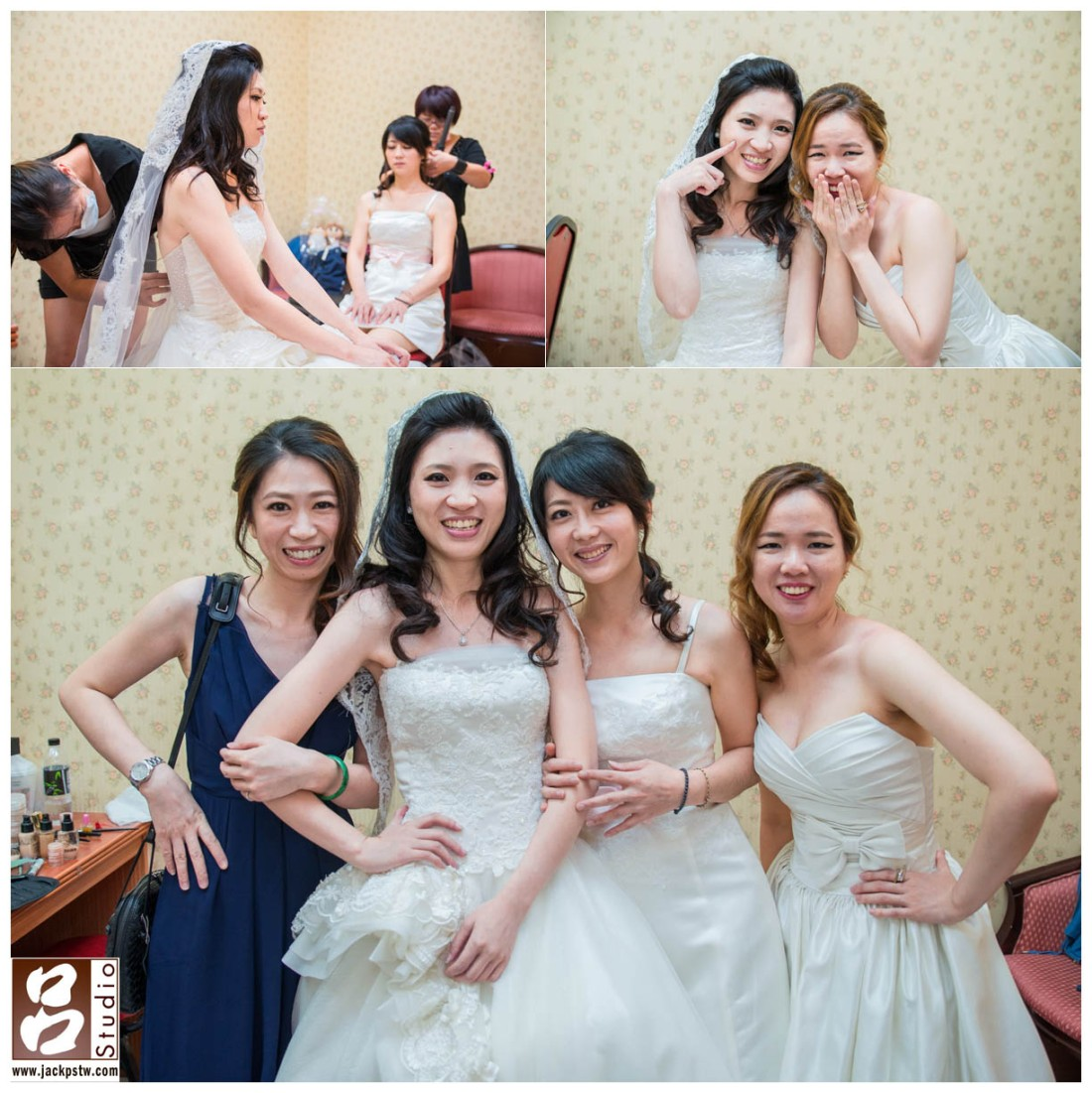 新祕小克幫新娘換上長披紗,伴娘也超活潑的