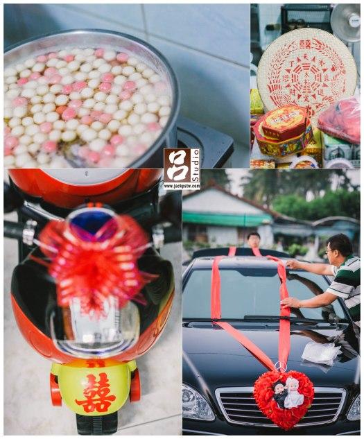 很傳統一家,媽媽一早就先煮一鍋的湯圓,禮炮,進場的花童的小車,禮車