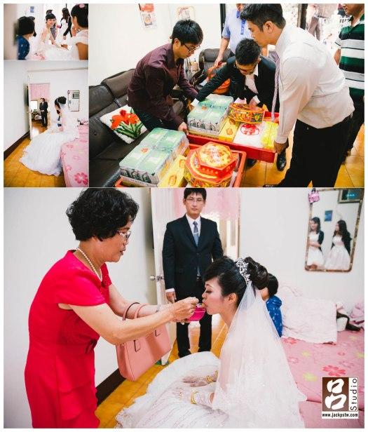 準備好等待新郎的新娘,婚禮當天的禮品,在門口等待時辰的新郎