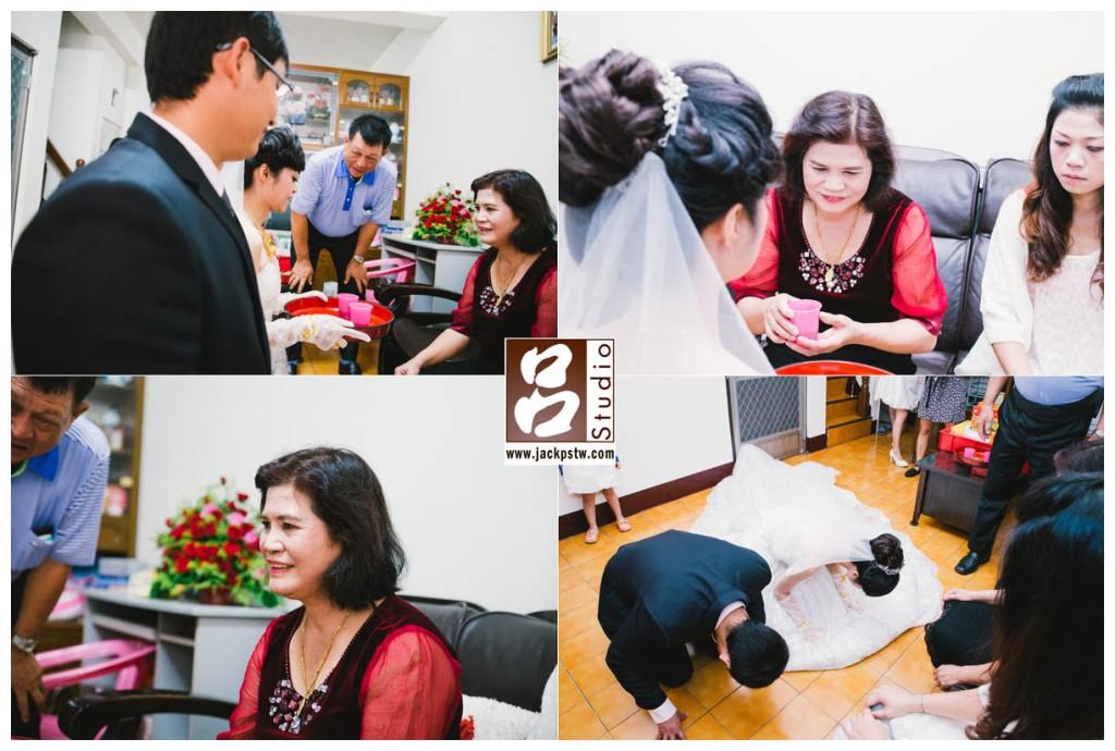 新娘端茶給母親喝,再來就是跪拜父母感謝養育之恩