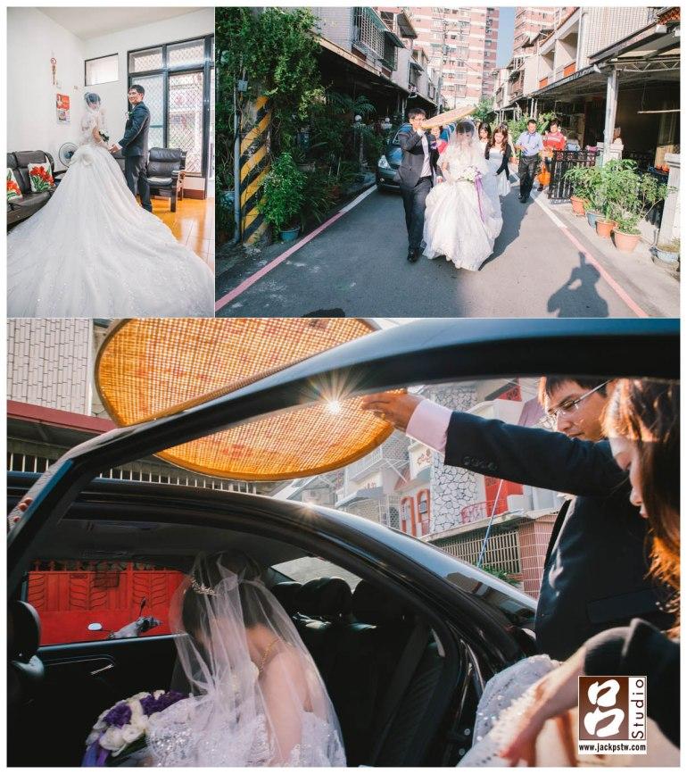 新娘裙擺相當漂亮,出家門準備上車