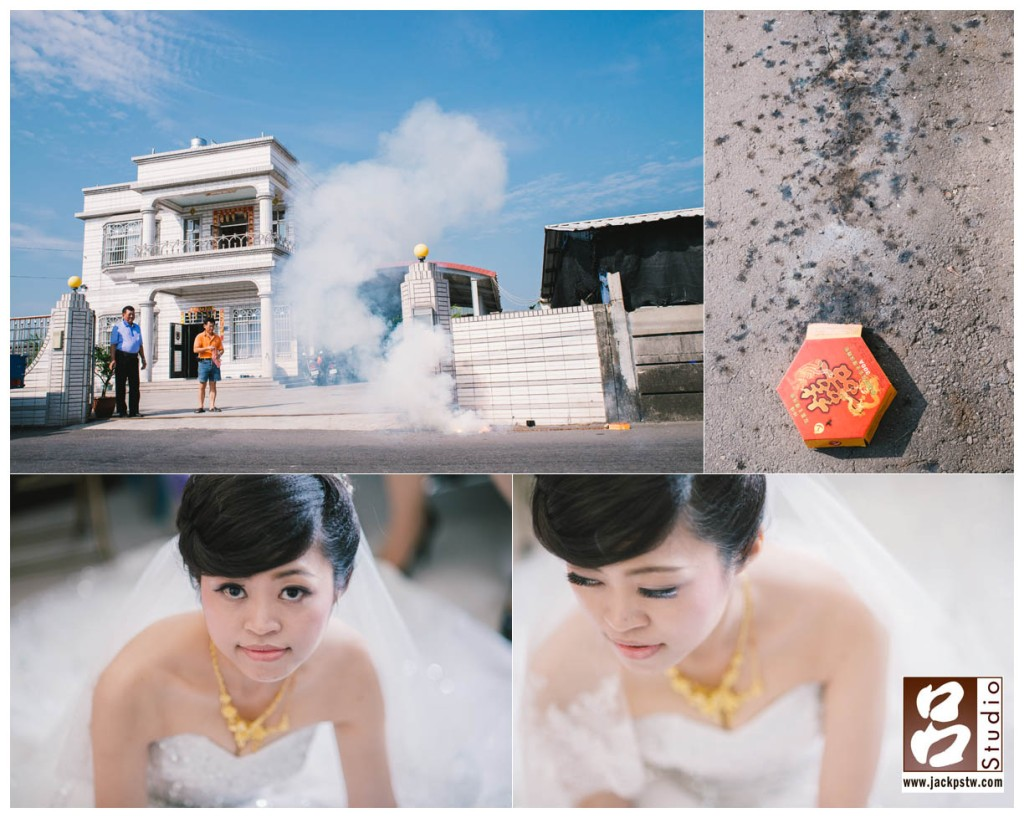 放鞭炮代表今天迎娶儀式圓滿結束,趁空檔拍幾張新娘獨照