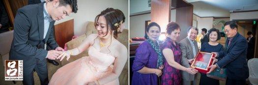 新郎智義幫新娘帶上戒指, 雙方家長交換聘禮