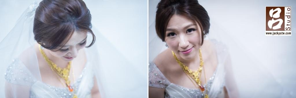 新秘事先化好妝,讓我有時間先拍攝下新娘白紗的造型,