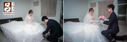 新郎幫新娘穿鞋畫面,有一些人說這是故意設計橋段讓婚攝可多點畫面拍,其實這習俗留下來的,代表的新郎才會跟著新娘子的腳步走,有幸福長久的意思,並不是故意設計的.