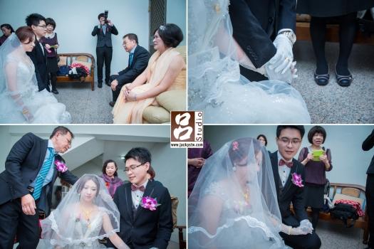 拜別父母感謝養育之恩,蓋頭紗, 新郎一直緊緊牽的新娘手