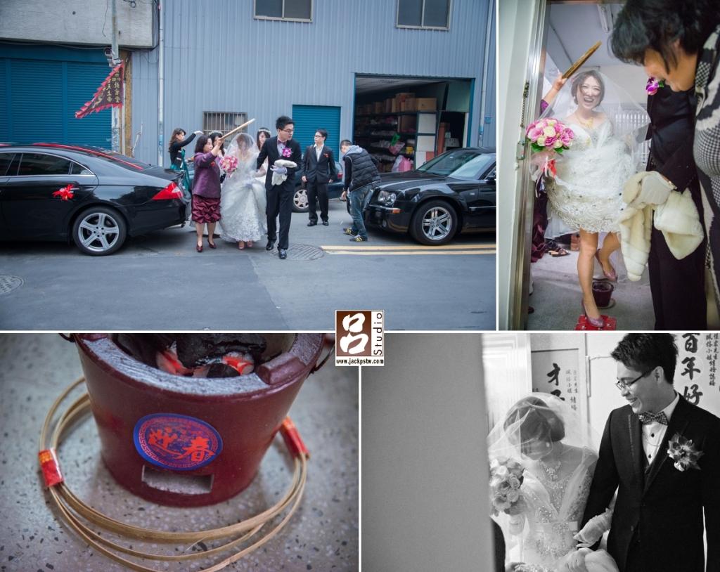 新娘珮榕跨火爐好開心,看不出來會緊張