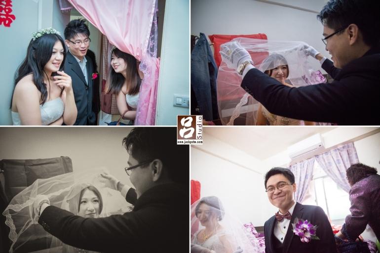新房內掀新娘頭紗