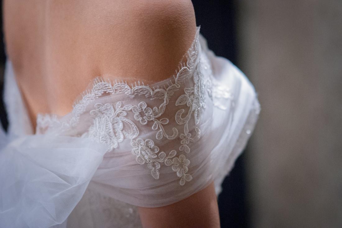 新娘白紗上的漂亮紋路
