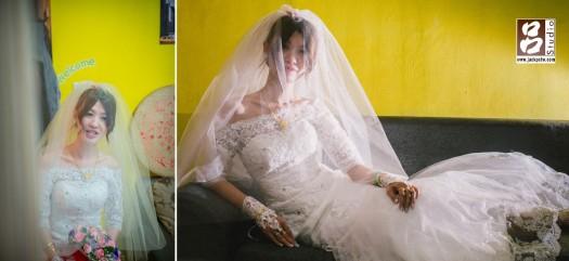 新娘獨照,其實我原本想說到樓梯間拍攝一些照片,長輩說不能亂跑,我就嘗試在他們家的沙發拍攝